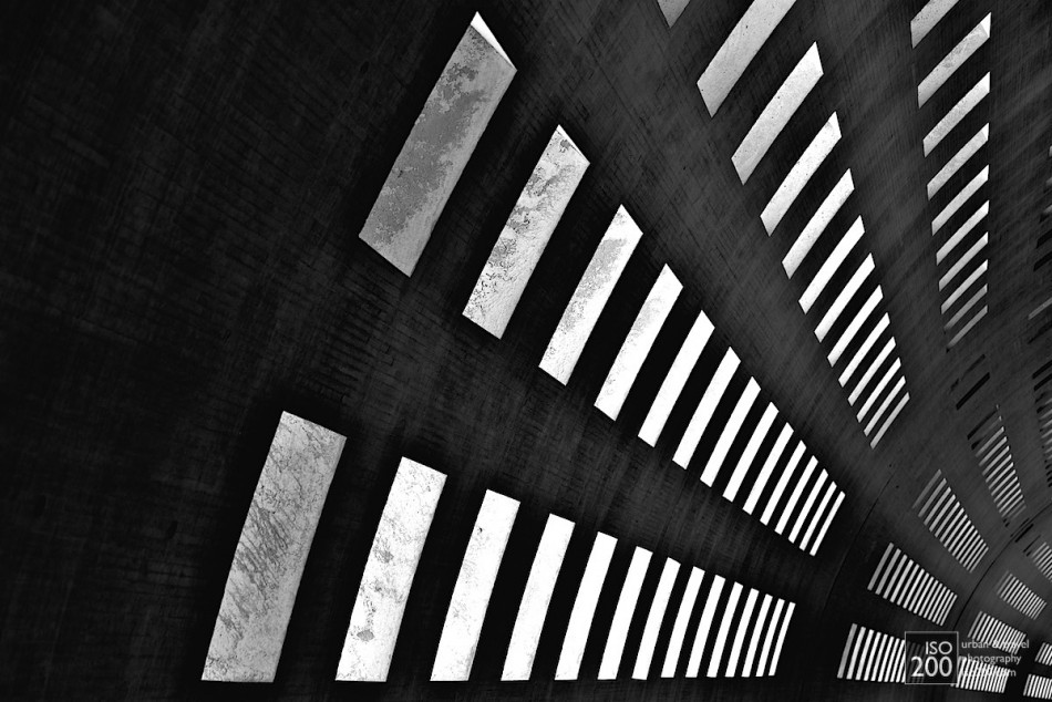 Abstract photo of the lines of windows in the interior of Terminal 2 of Charles de Gaulle airport, Paris, France.