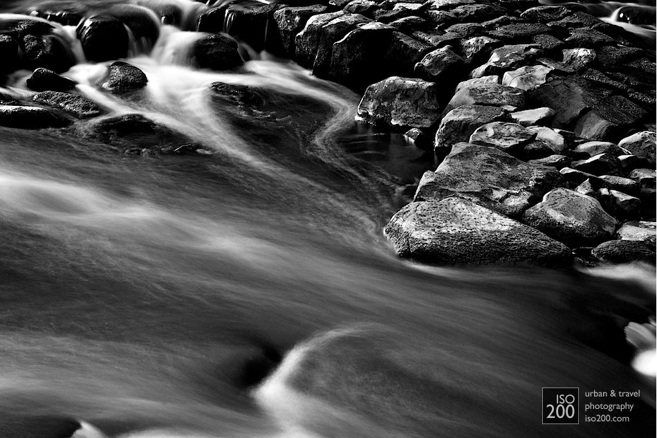 Water rushes over the rapids in the River Almond, in Cramond in Edinburgh.
