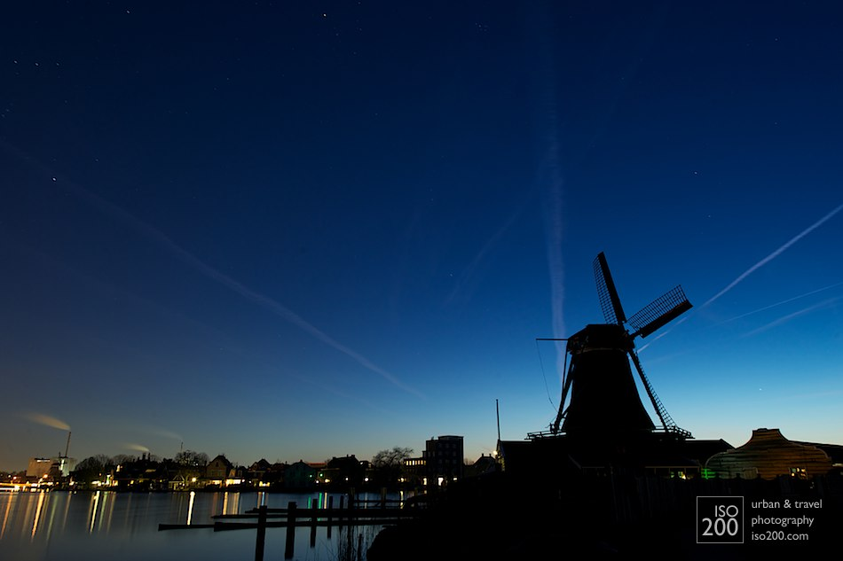Dusk at Zaanse Schans, the world heritage site just outside Amsterdam. 30 seconds at f11 at 24mm for the exif peepers.