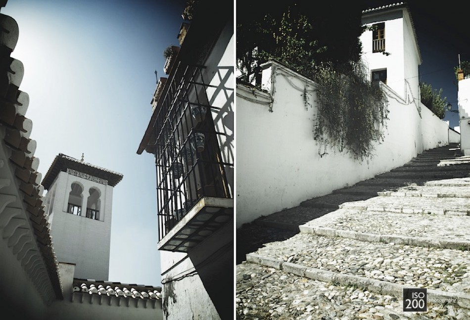 An Albaycin street diptych from Grenada, Spain.  Props to Patrick La Roque for his 'Rock the Grid' blog post on laying out multiple images in Aperture.