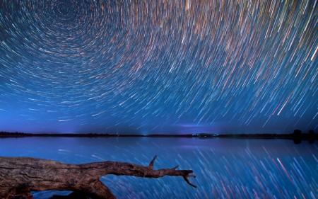 Star trails over the outback