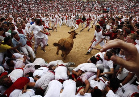 The Pamplona bull running fiesta