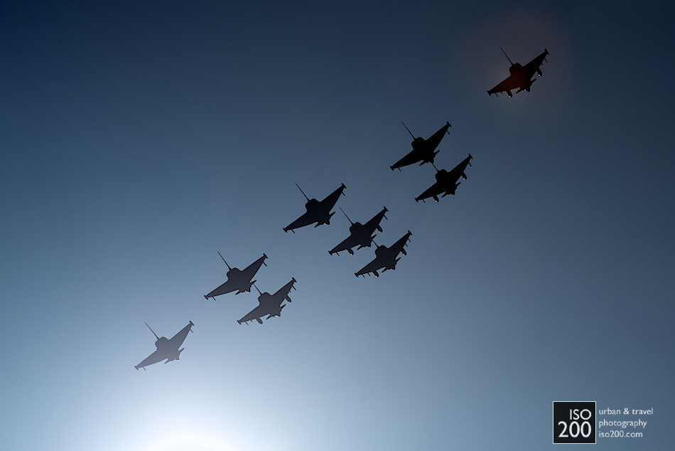 Photo blog post: '9 Eurofighters in a diamond formation'