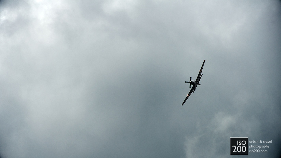 A Tucano displays against ominous skies, 2011 Leuchars Air Show. The pilot (Flight Lieutenant Dan Hayes) 'described conditions as awful'.