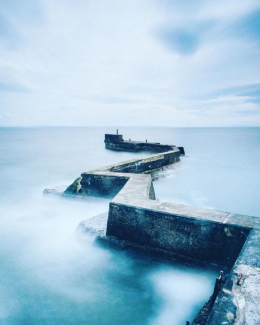The extraordinarily well-hidden breakwater at St Monan's harbour in Fife. 30 second exposure.
