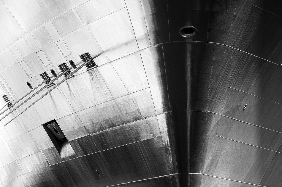 Black and white detail of the bow of the Cunard liner Queen Mary.