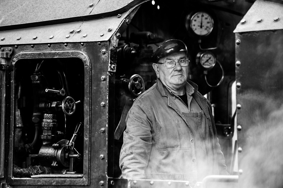Steam train driver, Strathspey Steam Railway, Aviemore, Scotland