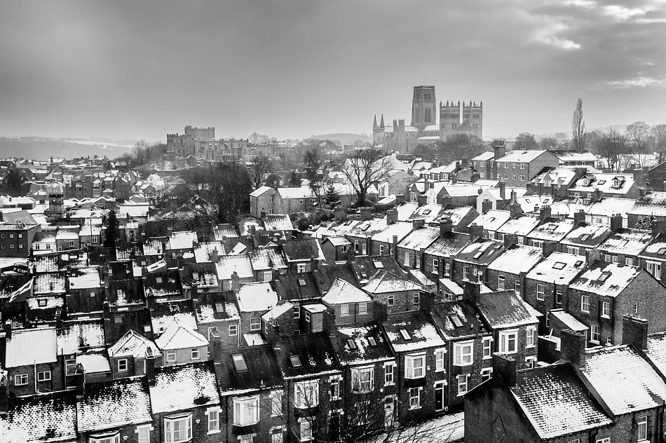 Durham covered in snow from the Railway Station.