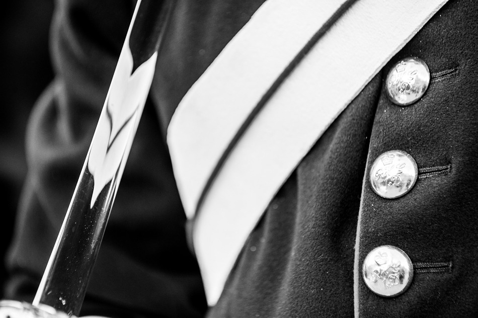 Uniform detail from a mounted guardsman on Horse Guards Parade, London, England.