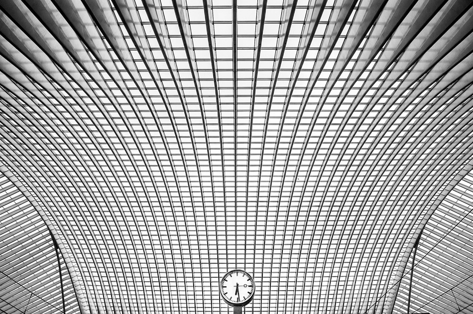 Swiss Modernist station clock, Liege-Guillemins Railway Station, Belgium