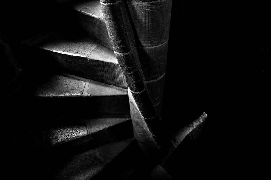 Stone spiral staircase in the Wallace Monument, Stirling.
